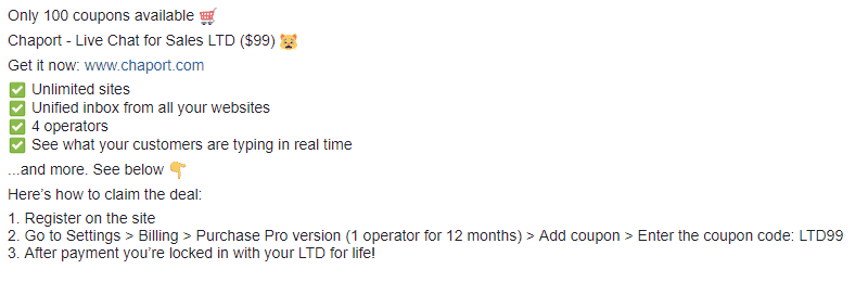 Chatport lifteime deal Live chat tool 2
