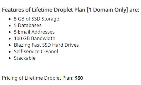 Droplet Hosting Lifetime deal on DealFuel 4